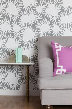 A great neutral wallpaper that still makes an impact with the silhouette pattern | Caitlin Wilson