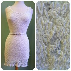 White dress with lace overlay and belt. We are in LOVE with this dress :)