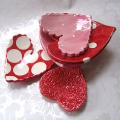 5 whimsical ceramic Hearts -- dish SET for your valentine or sweetheart (or MoM!) red, pink & white polka dots by maryjudy, $28.00