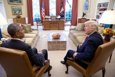 """Nov. 10, 2016 """"Two days after the election, the President meets with President-elect Donald Trump."""" (Official White House Photo by Pete Souza)"""