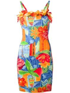 Multi-coloured cotton blend sleeveless dress from Kenzo featuring a floral print, 3D appliqued flower detailing, a square neckline, spaghetti straps and a fitted body. By Kenzo Jungle.
