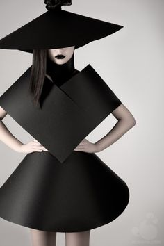 This is Bauhaus inspired fashion because of the minimal shapes creating modern clothing. The colour is black which isn't exciting but the shapes make it look interesting.