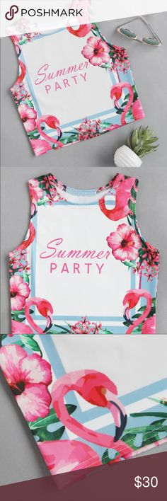 """🆕SUMMER PARTY fun tank top Measurements length 15.7"""" Bust 29.1-33.1"""" shoulder 10.6"""" cuff 16.5"""" Great round neck fun summer crop tank top. Great for summer kick off parties✅  🛍🛍Shop with confidence....I am a Poshmark ambassador, top rated seller, posh and sip host, and two time Poshmark party cohost. Bundle for best discounts. Check back often as new boutique items are added daily. Size not available? Leave a message and if it's available with my wholesale vendors I will order for you at…"""