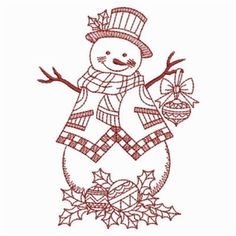 Ace Points Embroidery Design: Redwork Holly Snowman 3.80 inches H x 2.79 inches W
