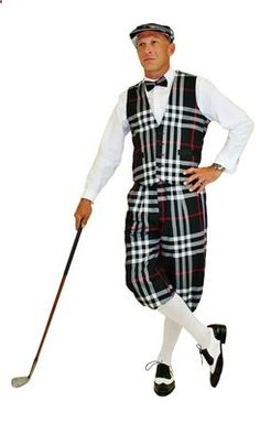 Golf Knickers - Black Plaid Outrageous Knickers Golf Outfit complete with Black Plaid Knickers, Vest, Cap and Bow Tie. White Socks included.