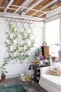Decoration - Pots and plants - Anno Trellis - / Modular - Set of 8 metal rings - Hexagon by Compagnie - Black / Beechwood hooks - Beechwood, Steel Vertical Garden Design, Vertical Gardens, Vertical Plant Wall, Indoor Garden, Indoor Plants, Indoor Climbing Plants, Indoor Plant Wall, Wall Trellis, Metal Garden Trellis
