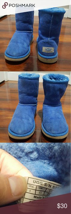 Girls blue UGG boots, size 1 Girls blue UGG boots, size 1.  There are some dirt marks since a child was wearing them lol, I tried to capture it in the pictures. UGG Shoes Boots