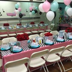 The inspiring Sock Hop Birthday Party Ideas 1950s Party Decorations, 1950s Theme Party, Fifties Party, 50s Theme Parties, Diner Party, Retro Party, Sock Hop Decorations, Dance Decorations, Party Themes