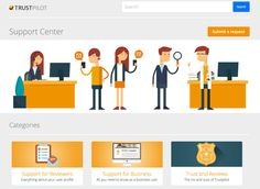 A consistent color palette and clear categories make it easy to browse the @trustpilot Help Center