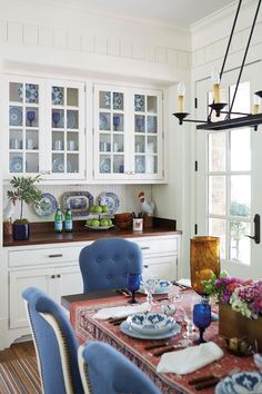 Dining Room With Built In Cabinets Featured Glass Doors
