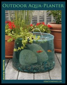 Beautiful planter/fountain/fish tank! This would be awesome!