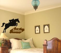 Horse-Horse decal-Jumping horse sticker-Personalized-Vinyl wall sticker-35 X 28 inches
