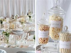 Apothecary jars and gorgeous labels make for one cool lolly buffet Candy Table, Candy Buffet, Dessert Table, Lolly Jars, Lolly Buffet, Ivory Wedding, Wedding Day, Candy Stations, Cake Stands