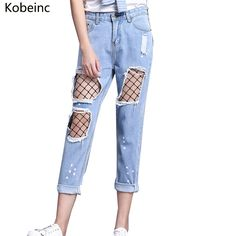 12.74$  Watch here - http://ali5n8.shopchina.info/1/go.php?t=32813457736 - Kobeinc Harajuku Ripped Jeans for Women Mesh Design Female Denim Pants Plus size Vaqueros 2017 High Waist Pantalon Ankle-Length  #buychinaproducts