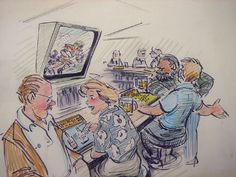 "bar_games Atari.jpg Glen Keane renders the future of the ""intelligent encyclopedia"" 1981. In a bar, the two men at the right are watching football on the screen and running what-if simulations on the countertop Intelligent Encyclopedia which second guess the quarterback. The couple on the left is taking an on-the-spot course in wine connoisseurship."