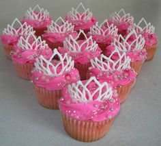 Pink and White Tiara Cupcakes