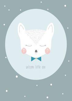 Petite louise 'kaart welcome little boy' cute illustrations Deer Cartoon, Kitten Cartoon, Boy Room Paint, Diy Nursery Decor, Baby Posters, Boy Illustration, Baby Shower Gifts For Boys, Decoupage, Cute Animal Drawings
