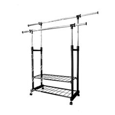 PowCube Garment Rack,Adjustable Garment Rolling Collapsible Clothing Rack,Double Shelves,with 4 Wheels,Black Hanger Stand, Hanger Rack, Pant Hangers, Clothes Hanger, Rolling Clothes Rack, Wooden Brackets, Plastic Hangers, Plastic Design, Garment Racks
