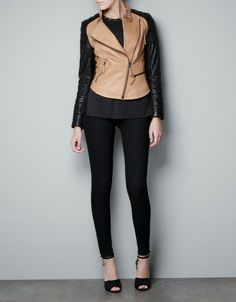 Leather Biker Jacket with Zips - Lyst