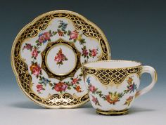 Sevres Teacup and Saucer Painted by Francois Binet circa 1760-61