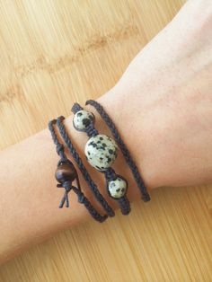 Dalmatian Jasper Hemp Wrap Bracelet  Black Organic by TheSunLab, $14.00