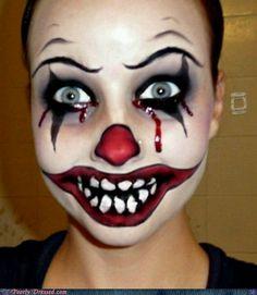Terrific evil clown face paint!