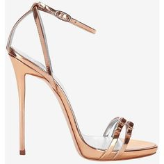 Giuseppe Zanotti Metallic Leather Double Strap Stiletto Sandal ($795) ❤ liked on Polyvore featuring shoes, sandals, heels, gold, gold shoes, rose gold shoes, gold sandals, heeled sandals and platform shoes