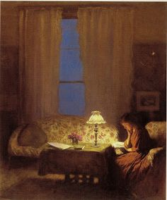 Reading by the lamplight by George Clausen (1852-1944) http://salidasdellaberinto.blogspot.com.es/