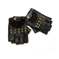 Renee's Accessories Studded Fingerless Gloves ($42) ❤ liked on Polyvore featuring accessories, gloves, luvas, fillers, women, punk gloves, studded gloves, leather gloves, fingerless gloves and studded leather gloves