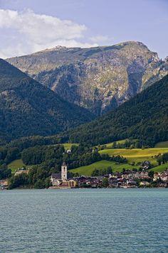 Views of St. Wolfgang from Lake Wolfgangsee, Austria