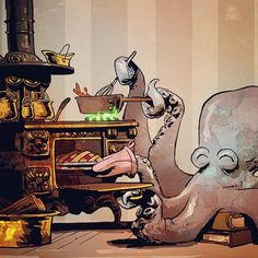 Instagram media hielo777 - regram @briankesinger #octopus are very handy in the kitchen, especially when prepping your #thanksgiving feast! #ottoandvictoria #cooking #foodie #flavor