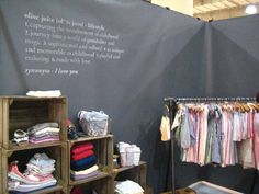 love the quote on the backdrop and crates for goods