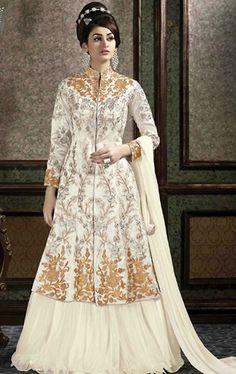 Appealing Off White Designer Lehenga Kameez Set