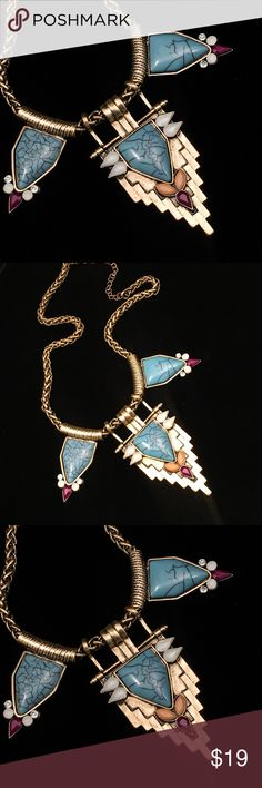 """Southwest Goldtone Turquoise Statement Necklace Goldtone southwest theme turquoise statement necklace.  18"""" chain. Jewelry Necklaces"""