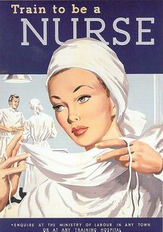A beautiful WW2 illustrated nursing student recruiting poster from the 1940s. #poster #WW2 #nurse #hospital #1940s #forties #vintage