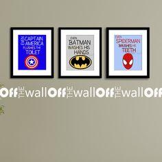 Superhero Bathroom Art Prints  Set of 3 8x10  by OffTheWallbyLeah, $28.00 ... For a little boys bathroom!