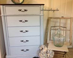 Great curves on this tall dresser - painted in Running Brook chalky paint.