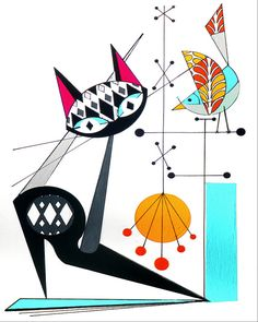 Atomic Mid Century Modern Cat and Bird Print by COLBYandFRIENDS