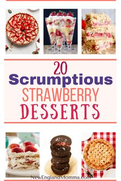 Strawberries can be dipped in chocolate, baked in pies, layered in a parfait, dipped in sugar, sliced up for shortcake. Here are 20 scrumptious strawberry dessert ideas! Strawberry Fluff, Strawberry Rhubarb Crisp, Strawberry Desserts, Summer Desserts, Christmas Desserts, Easy Desserts, Delicious Desserts, Fun Easy Recipes, Summer Recipes