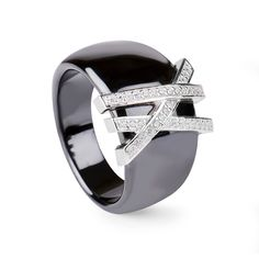 Pinsa Ring Black Ceramic #LuxenterJoyas  #LuxenterSilver