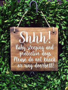Baby Sleeping Sign 7x8 No Soliciting by TheWoodGrainHome