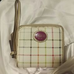 Coach Wristlet Wallet Cream leather striped exterior with pink cloth lining Coach Other