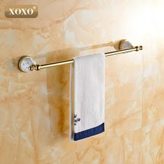 XOXOSingle Towel Bar,Towel Holder, Towel rack  Solid Brass & Crystal Made,Chrome Finish, Bathroom Accessories 10024GT #Affiliate