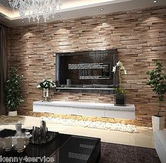 Luxury wood blocks brick wall effect vinyl 10M wallpaper Roll living room brown