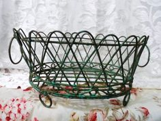 Weaved Metal BASKET- Antiqued Metal Basket on Feet- Distressed Green Metal- Rusty Treasure- Shabby Home Decor- Large Wire Basket- Aged Metal Large Wire Basket, Metal Baskets, Country Decor, Country Style, Aging Metal, Shabby Home, Metal Vase, Card Sentiments, Make Arrangements