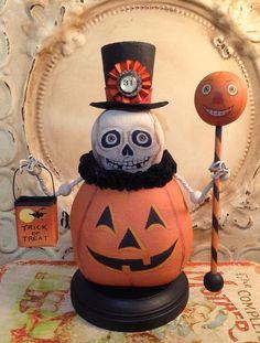 Folk Art One of a kind Pumpkin Skeleton Halloween vintage