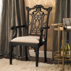 """Lacquered Chippendale Armchair,42""""X22""""X19""""D, S of L, black, arms"""