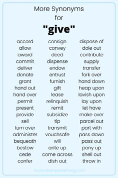 "More synonyms for ""give"" 