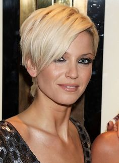 Sarah Harding Short Blonde Pixie Cut with Long Bangs | Styles Weekly