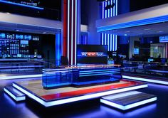 Based in Abu Dhabi and serving as a competitor to Al Jazeera and Al Arabiya, Sky News Arabia launched last month with all the glitz and fanfare you'd Bühnen Design, Tv Set Design, Stage Set Design, Virtuelles Studio, News Studio, Studio Design, Plateau Tv, Certificate Design Template, Virtual Studio